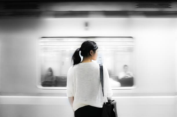 woman and train